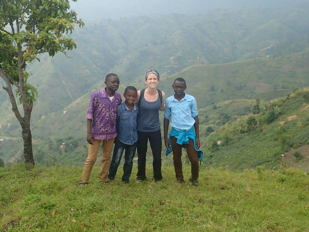 Hiking in the Rwenzori foothills with some locals